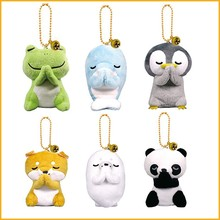 Cute Mini Frog Panda Penguin Dolphin Akita Dog Plush Filled Toy Keychain Bag Charm Filled Plush Animal Toy Keychain Gifts-TOY161(China)