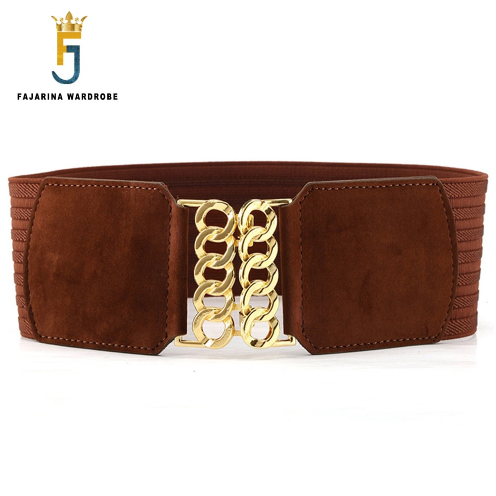 FAJARINA All-match Casual T Show Female Villus Hook Buckle Decorative Style Elastic Wide Girdle Cummerbunds For Women LDFJ064