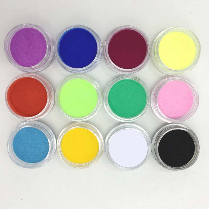NEW 12Pcs Women Pigment Color Nail Art Tips Mix Colors Glitter Powder for Acrylic UV Gel Decoration DIY Manicure Beauty Tools