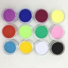 NEW 12Pcs Women Pigment Color Nail Art Tips Mix Colors Glitt