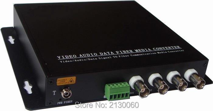 HD Video AHD Fiber Optical Converter, 4ch Hd 720P Video Fiber Optic Transmitter, Single-mode Single Fiber 20KM, FC Fiber Port