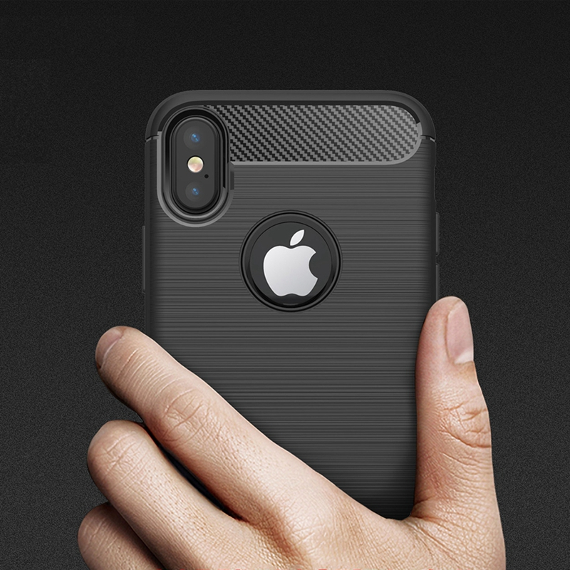 for iPhone X Case Luxury Brushed Silicone For apple iPhoneX Soft Silm Armor TPU Case Hybrid Black Back Cover case for iphone X