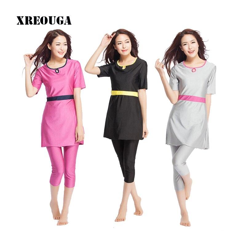 XREOUGA Swimwear Muslim Young Girl Swimming Clothes Islamic Swimming Suit S-XXXL MS14 12 rev 30 s xxxl