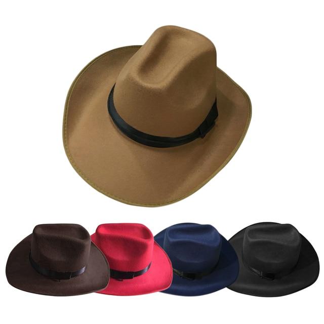 1a29973ea4c3 JAMONT 2017 Womem Men Western Cowboy Hat With Wide Brim Punk Belt Cowgirl  Jazz Cap With Leather Toca Gentleman Sombrero Cap. Price: