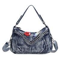 2017 Women's red lip perfume bottle decoration big blue jeans handbag denim shoulder bag rivet cover crossbody bag handbag