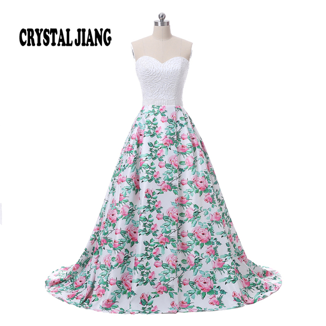 Hot Sale 2017 Sweetheart Delicate Beaded Natural Waist Custom made Floral Print Ball Gown Elegant Prom Dresses