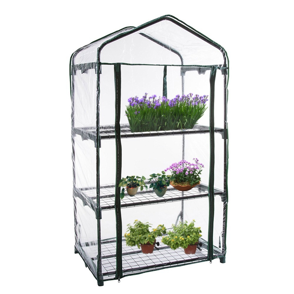 PVC Warm Garden Tier Mini Household Plant Greenhouse Cover Homes Garden Decoration Protect Plants Flowers(without Iron Stand) Garden Greenhouses     - title=