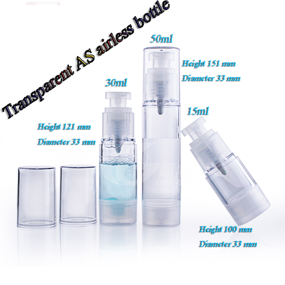 15ml 30ml 50ml 50pcs lot AS all Transparent airless bottle vacuum pump bottles used for Cosmetic