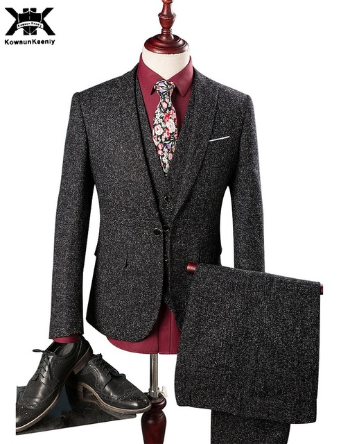 ab7c7f593bd5d (Ceket + Pantolon + Yelek) KowaunKeenly Siyah Keten Takım Elbise Mens Düğün  Damat 2017