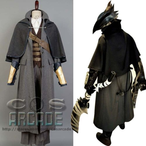Bloodborne The Hunter Set sexy Costume Jacket Coat Outfit Suit Tricorn Hat Halloween Carnival For Men