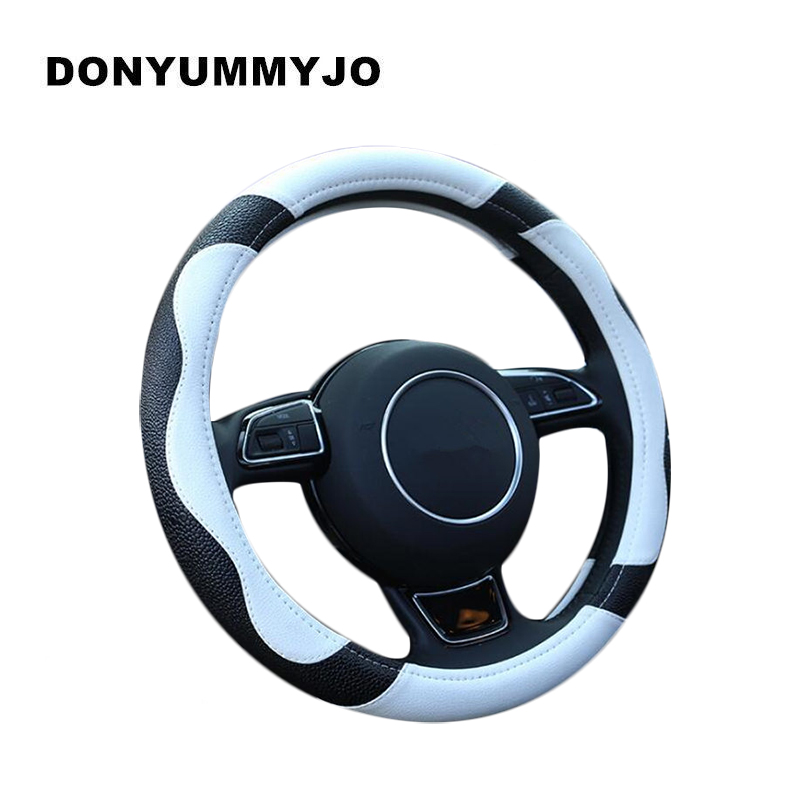 DONYUMMYJO NEW Leather Car Steering Wheel Cover M size for BMW Audi Ford Kia Mazda solaris VW golf polo etc. 38CM 14-15 dermay high quality car genuine leather steering wheel cover massage m size for lada ford nissan vw skoda chevrolet etc 98% car