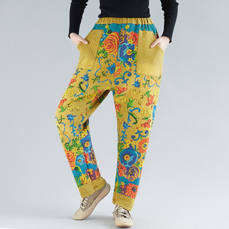 Elastic Waist Baggy Harem Trousers Velvet Warm Cross Pants Winter Women Plus Size Fleece Pants Chinese