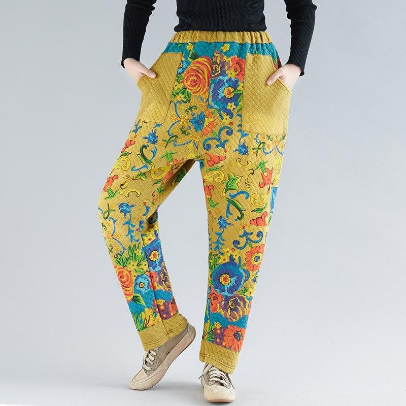 Elastic Waist Baggy Harem Trousers Velvet Warm Cross Pants Winter Women Plus Size Fleece  Pants Chinese style cotton Pants-in Pants & Capris from Women's Clothing    1