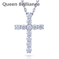 Queen Brilliance 1 1ctw Lab Grown Moissanite Diamond Cross Pendant Necklace Platinum Plated 925 Sterling Silver
