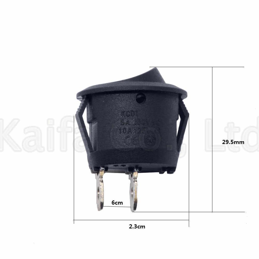 5 piezas SPDT pequeño bote redondo basculante interruptores negro Mini redondo negro blanco 2 pines encendido-apagado interruptor basculante KCD1