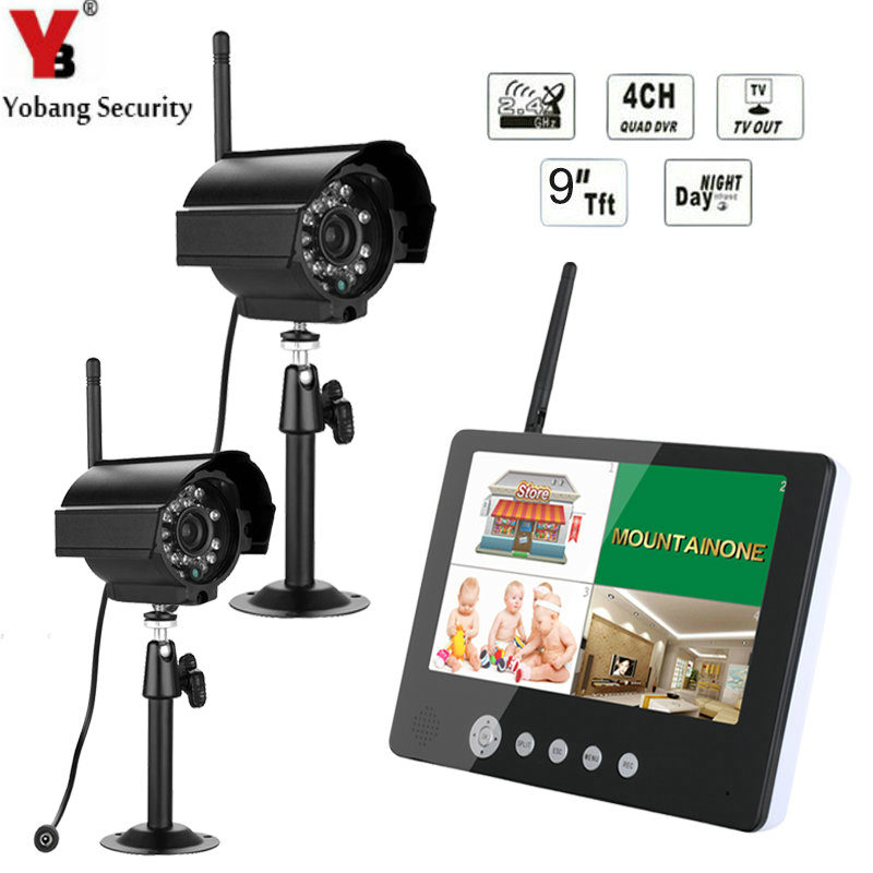 YobangSecurity 2.4GHz Digital Wireless 9Inch Audio Video Baby/Pet Monitor 4CH CCTV DVR NVR Security Camera Surveillance SystemYobangSecurity 2.4GHz Digital Wireless 9Inch Audio Video Baby/Pet Monitor 4CH CCTV DVR NVR Security Camera Surveillance System