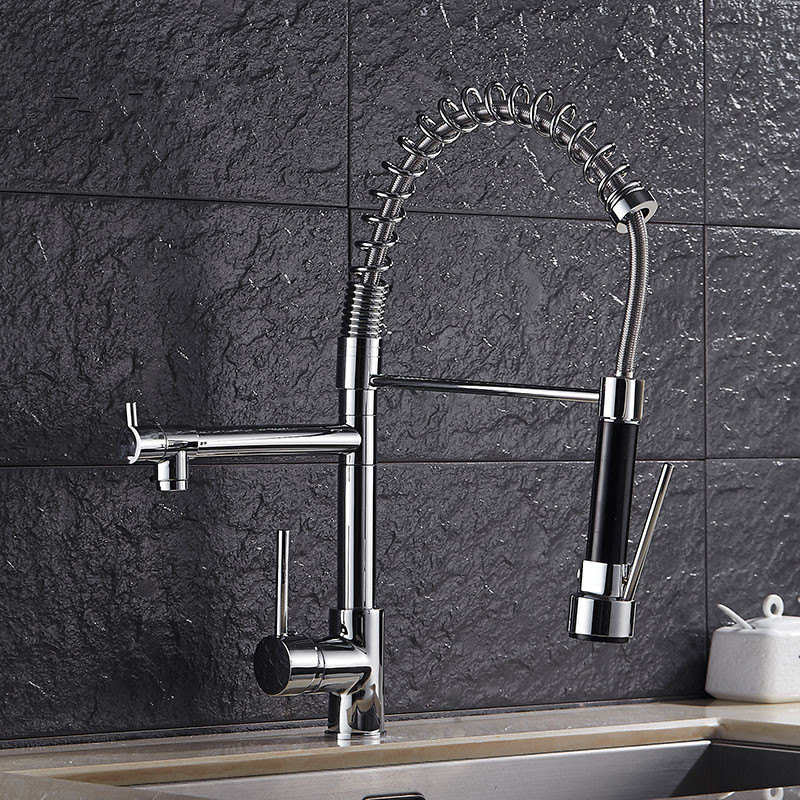 Spring Style Pull Out Kitchen Faucet Mixer Multifunctional Water Tap 2 Water Outlet All Around Rotate