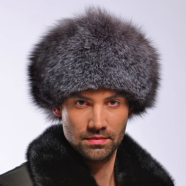 dadba9d648a Original Russian roller shapka fur hat Silver   Blue RANCHED Fox natural  leather