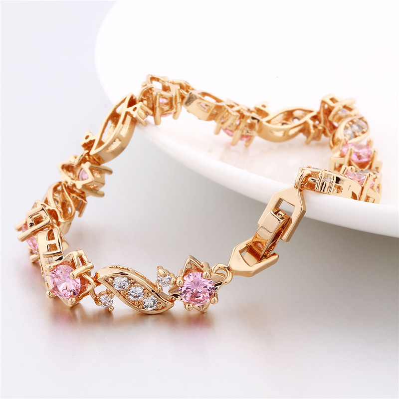 BUDONG 18cm Fashion Hand Bracelets for Women Silver/Gold Color Bracelet Pink Crystal Cublic Zirconia Jewelry Bangles XUL104 7