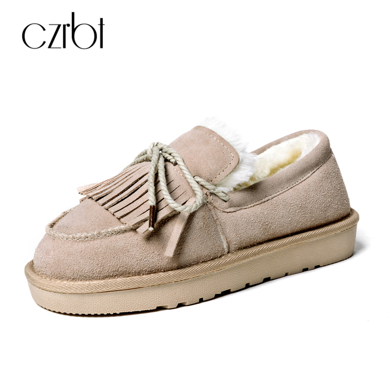 CZRBT Fshion Women's Shoes High Quality Women Winter Warm Loafers Cow Suede Plush Flat Shoes Butterfly-knot Fringe Casual Flats top brand high quality genuine leather casual men shoes cow suede comfortable loafers soft breathable shoes men flats warm
