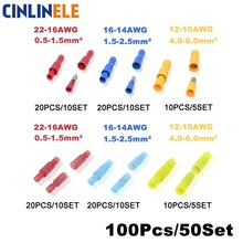 100Pieces 50Set Bullet Shape Wire electrical Connector Male Female Crimp Insulation Nylon Cable Terminal FRD MPD
