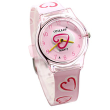 Girl pink heart Waterproof Kids Watches Fashion lady Candy Q