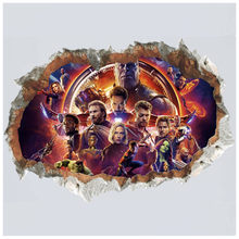 The Avengers movie figures broken wall decals super heroes anime 3d vinyl stickers kids room decoration marvel poster 70*50cm(China)
