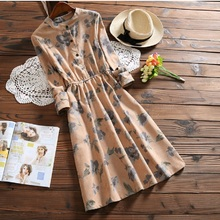 2017 Spring Autumn Women Dress Loose Waist Floral Printed Mori Girls Corduroy Vestidos de Festa Long Sleeve Vintage Dresses(China)