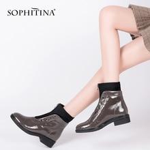Sophitina女性カジュアルアンクルブーツ基本低ヒールラウンドトウ黒のパテントレザー女性の靴品質手作りジッパーブーツB76