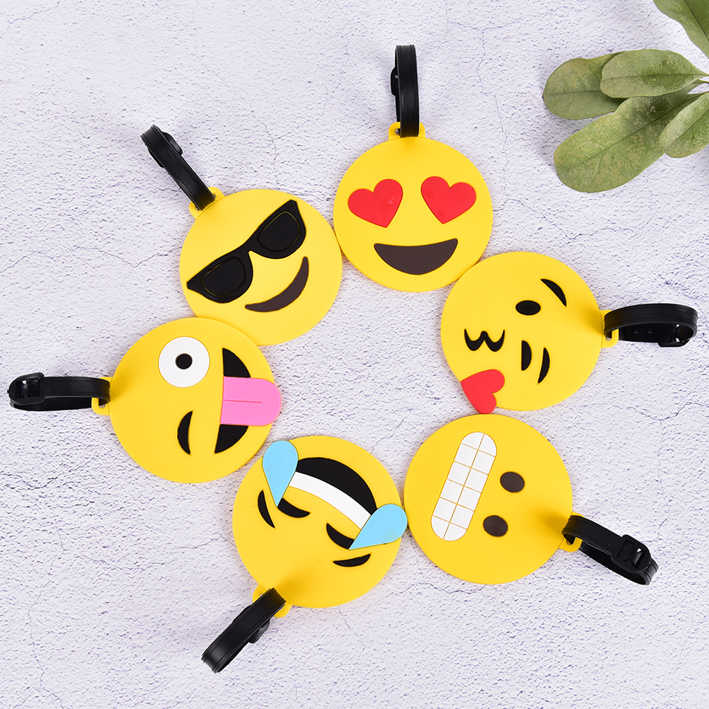 US $1 46 21% OFF|1Pcs Creative Emoji Baggage Boarding Tag Gel Suitcase ID  Address Holder Portable Label Travel Accessories Luggage Tag-in Travel