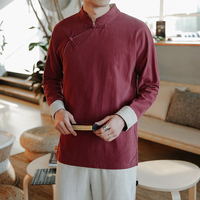 2019 summer men's costume hanfu long robe chinese mens linen top long outerwear chinese ancient clothing