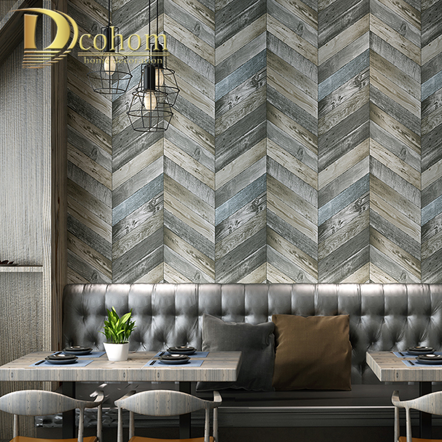 Us 16 33 51 Off Vintage Faux Wood Wall Wallpaper American Nostalgia Style 3d Wallpapers For Living Room Cafe Restaurant Decor Wall Paper Rolls In