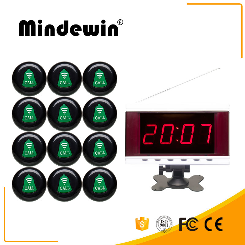 Wireless Calling System Restaurant Pagers 12PCS M-K-1 Call Button and 1PCS M-R-2 LED Display 433.92MHz Pagers