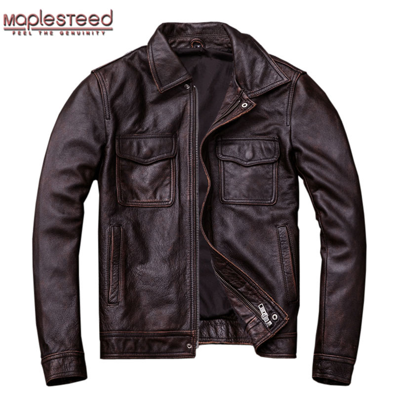 MAPLESTEED Brand Vintage Leather Jacket Men 100% Cowhide Red Brown Black Natural Leather Jackets Men's Leather Coat Autumn M174(China)