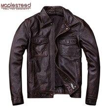 Бренд mapesteed, винтажная кожаная мужская куртка, воловья кожа, красный, коричневый, черный цвет, натуральная кожа, куртки, мужское кожаное пальто, осень M174