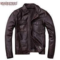 Mapesteed marca Vintage chaqueta de cuero para hombres 100% piel de vaca rojo marrón negro Natural chaquetas de cuero para hombres otoño M174