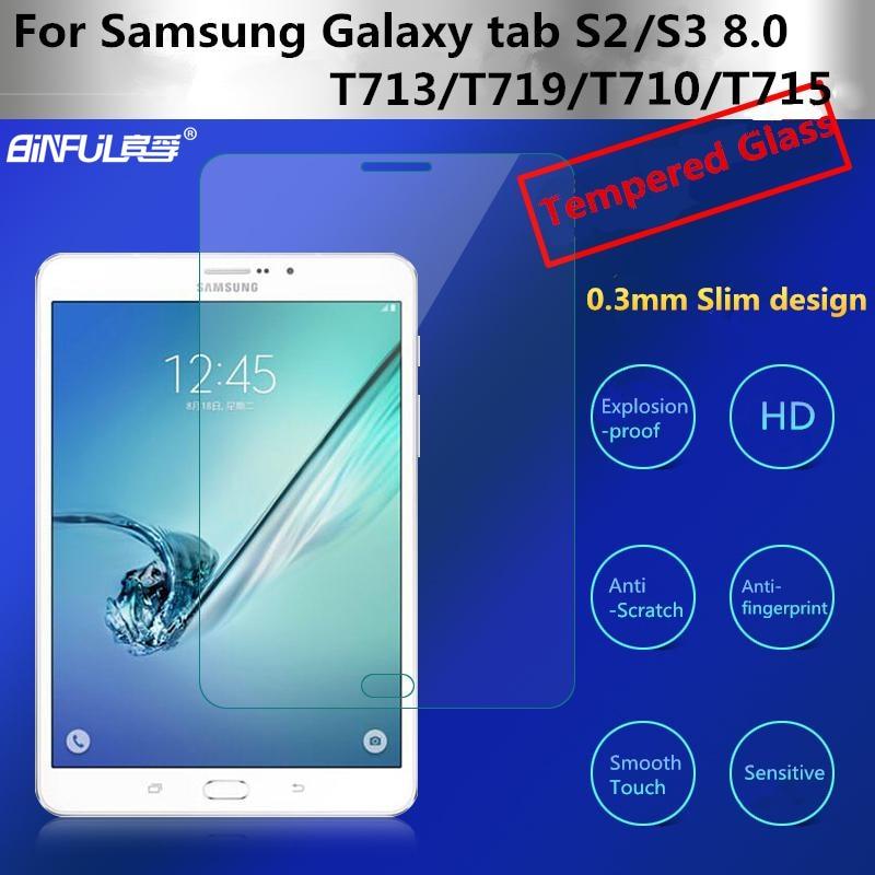فیلم محافظ صفحه نمایش BINFUL فوق العاده نازک 0.3mm 9H برای محافظ شیشه ای Samsung Tab Tab S2 S3 8.0 T710 T715 T713 T719