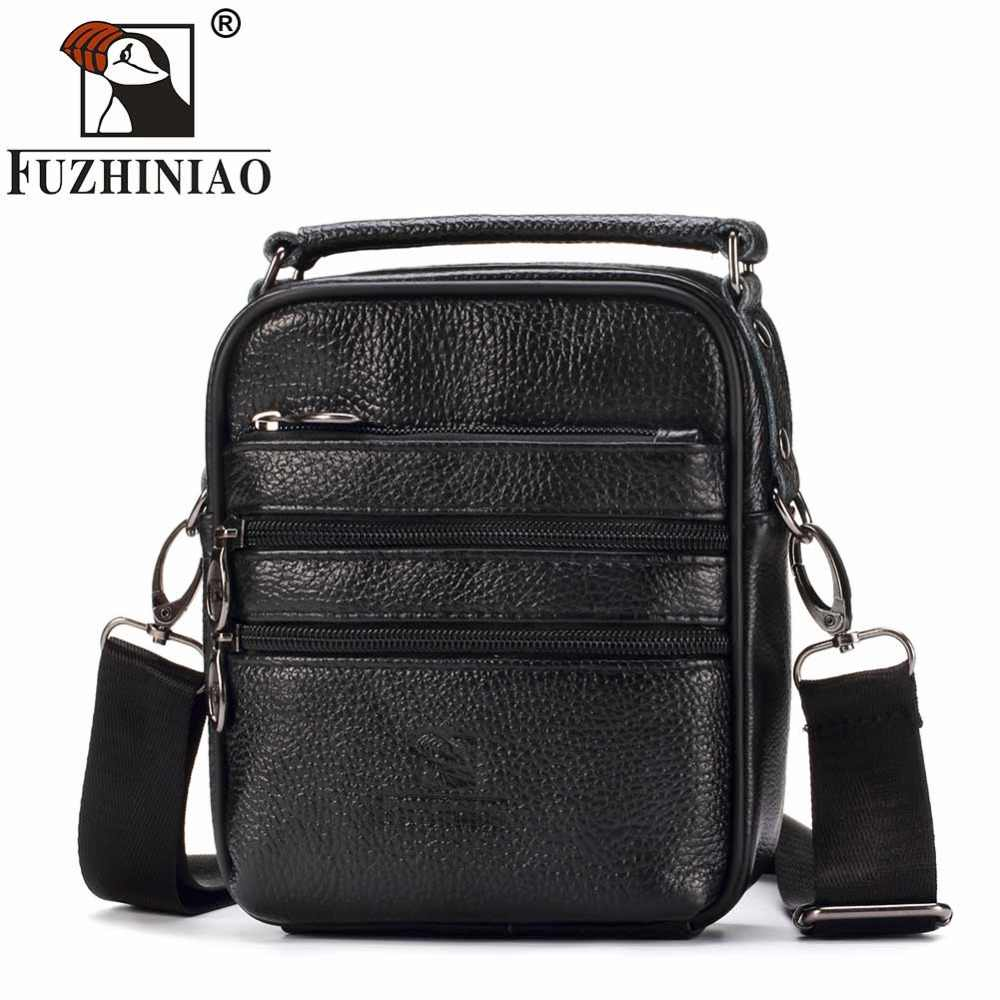 FUZHINIAO Men Bags Casual Genuine Leather Leather Messenger Bag High Quality Bolsas Sac Sling Male Business Handbag Small Mini