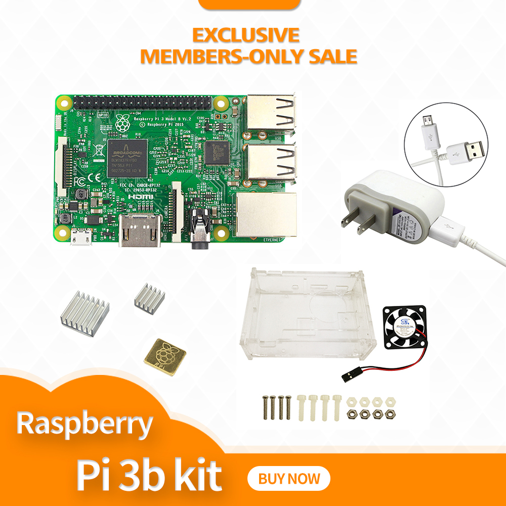 Raspberry Pi 3 Model B starter kit - pi 3 board / pi 3 case / 5V 2.5A US Power Supply / heat sinkRaspberry Pi 3 Model B starter kit - pi 3 board / pi 3 case / 5V 2.5A US Power Supply / heat sink