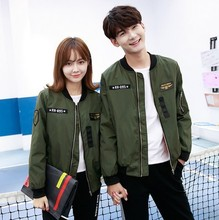 2017 new women bomber jacket basic coats Couple coat flight suit casual women coat applique patch women jacket coat Large size