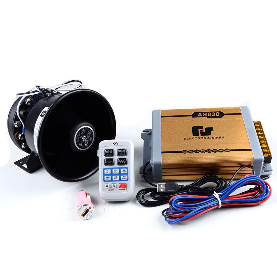 ФОТО 200W  11 Tone Loudspeaker Horn AS830 Gold Electronic Horn Car Alarm Siren Speaker Car Styling Police Horn Alarm Siren Buzzer