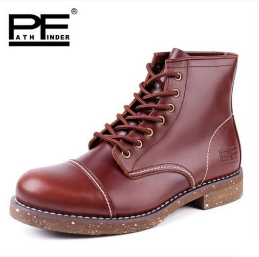 Pathfind Men Genuine Leather winter ankle Boots Motorcycle Martin Tooling mens Outdoor Shoes Western Botas Black red brown pathfind women genuine leather ankle boots zapatos mujer handmade martin timber shoes tooling 2018 womens outdoor western botas