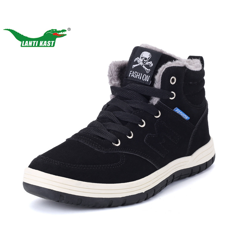 LANTI KAST Winter Men Running Shoes Popular High Top Fur Lace Up Men Sneakers Thermal Plush Sport Shoes Large Size Shoes 39- 48