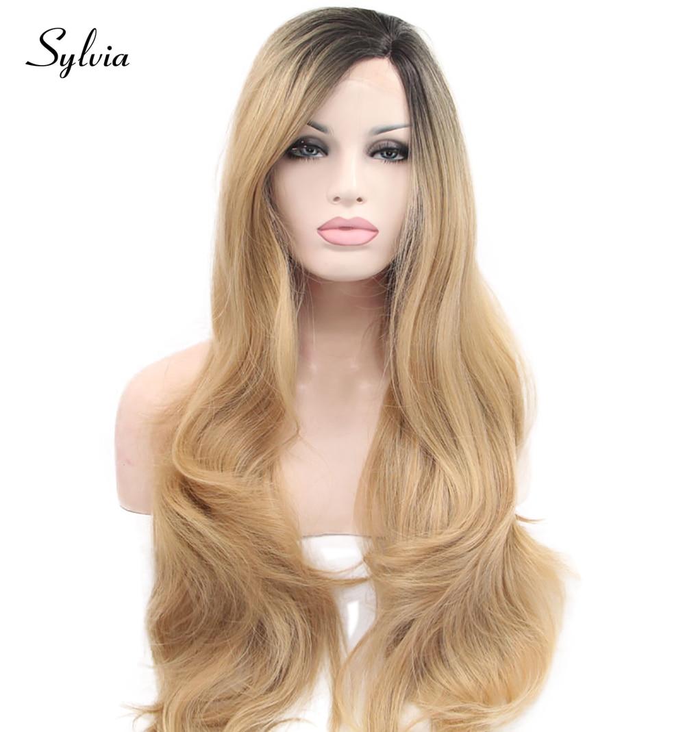 sylvia blandad blond ombre lång kroppsvåg syntetisk spets främre - Syntetiskt hår - Foto 1