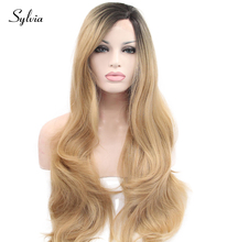 Sylvia mixed blonde ombre long body wave synthetic lace front wigs with dark roots natural blonde hair heat resistant fiber hair