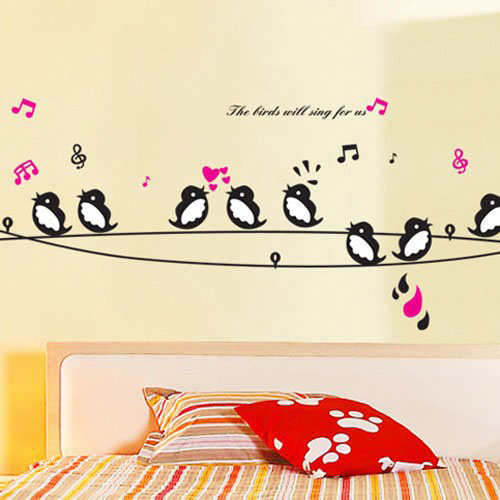 Aliexpress Com 1 Get Minion Birds Singing Music Diy Wall Decor Stickers Animals Poster Decorations For Child Bedroom Living Room From