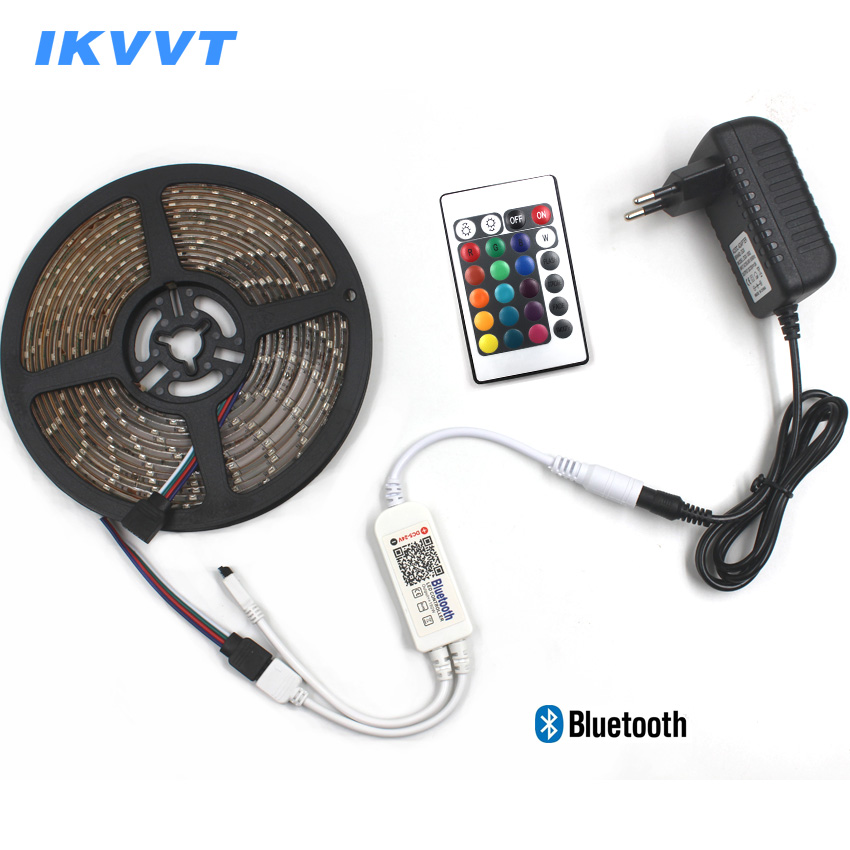 IKVVT Bluetooth Control RGB LED Strip Light Waterproof 5M 10M 15M DC12V 3528 RGB Flexible LED Tape Ribbon+Bluetooth Controller
