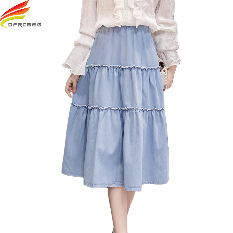 205463bb372 Plus Size Denim Skirts For Women 2018 New Arrivals High Waist Ladies Jeans  Skirt High Quality Big Swing Korean Style jupe femme