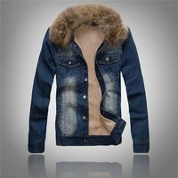 Winter Mens Denim Fur Collar Wool Jacket Autumn Retro Thick Windproof Jean Coats Fashion Fleece Jacket
