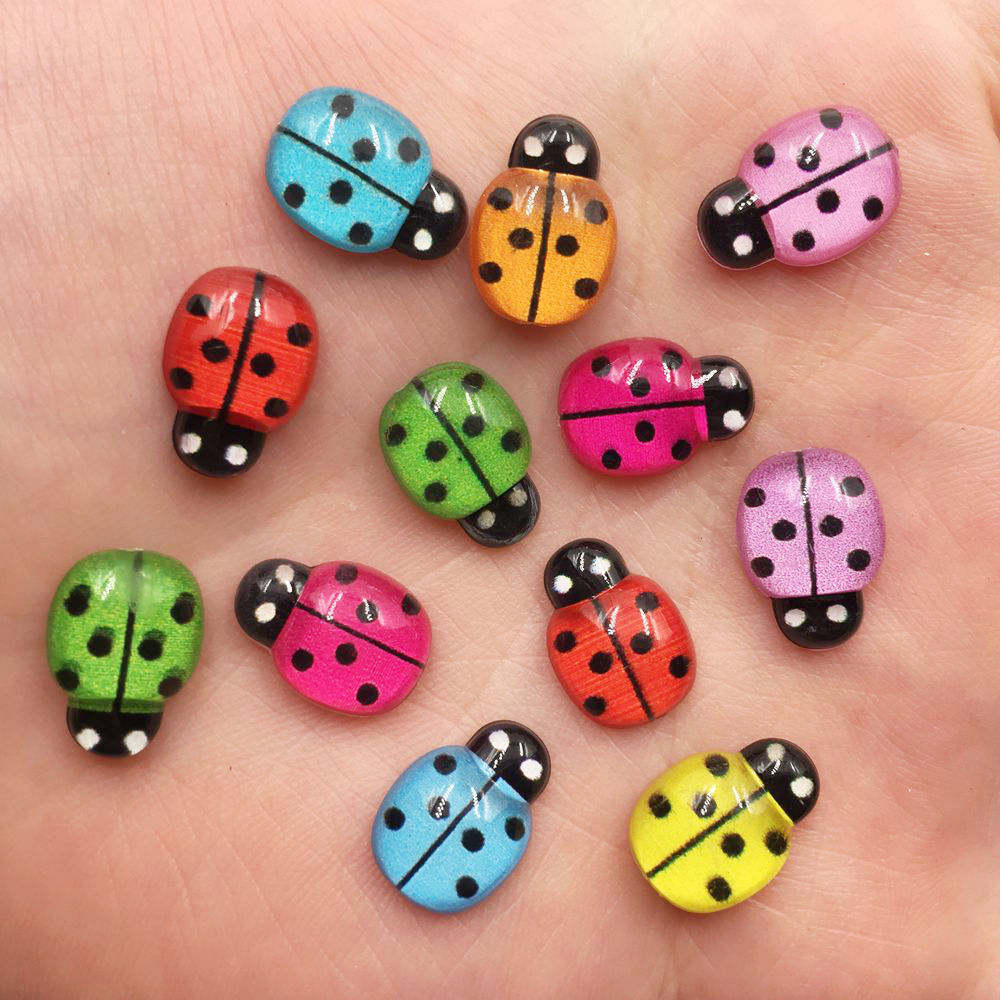 New 60pcs Mix Resin Cute Colorful Beetle Flat Back Rhinestone Appliques DIY Wedding Scrapbook Craft F605